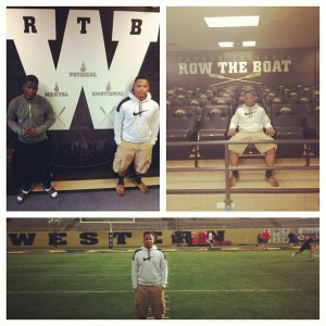 Estrada (white hoodie) and Seabury (dark hoodie) at Western Michigan. (Photos submitted by: Mitchell Estrada)