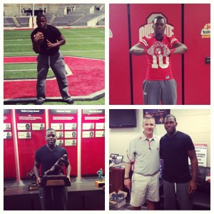 Left to Right: Patrick on the field at Ohio Stadium, home of the Buckeyes; wearing Ohio State gear; holding a Heisman trophy; and with head coach Urban Meyer. (Photos submitted by: Jacques Patrick)