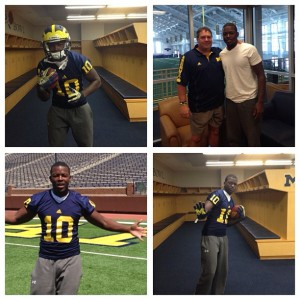 Left to Right: Patrick with Wolverine gear on; with head coach Brady Hoke; down on the field in Ann Arbor; and back in the locker room with more gear on. (Photos submitted by: Jacques Patrick)