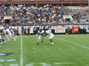 The Armwood Hawks run a play during the 2013 Class 6A State Championship Game. Photo By Joshua Wilson