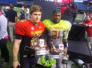 QB Sean White won the Team Highlight MVP Award for his performance in the 2014 Under Armour All-America Game. Photo By Joshua Wilson