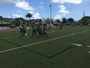 Mater Academy running some drills during spring practice (Photo Credit: Mater Academy Football)